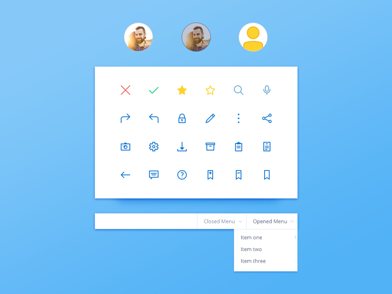 Icons, menu and profile UI kit preview picture