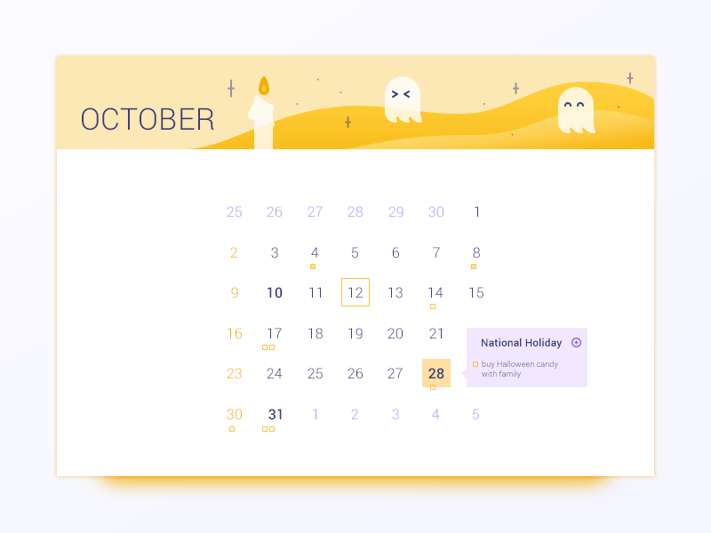 October Calendar UI preview picture