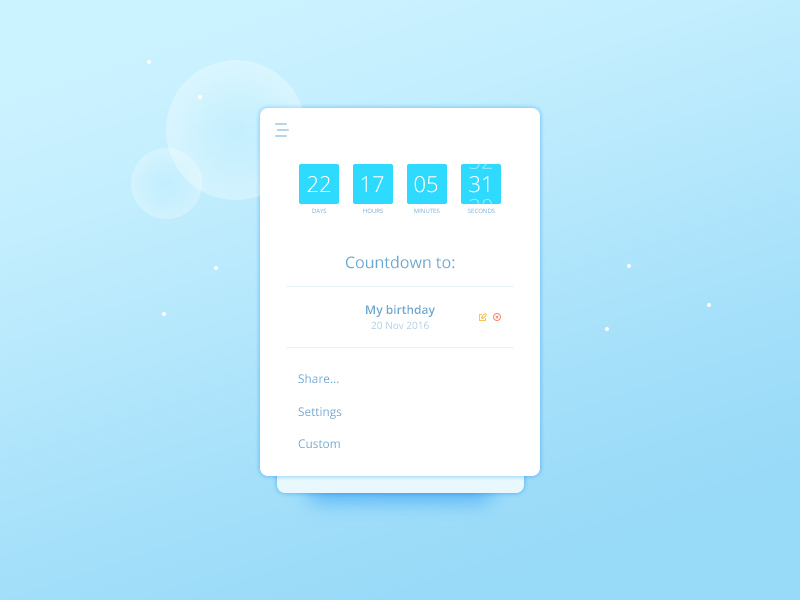Countdown Widget UI preview picture