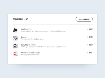 E-commerce product list UI